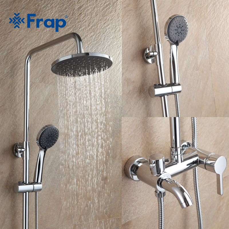 Frap 1 ensemble salle de bains pluie douche robinet ensemble mélangeur avec pulvérisateur à main mural chrome F2416