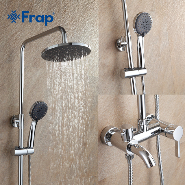 Frap 1 Set Bathroom Rainfall Shower Faucet Mixer Tap With Hand Sprayer Wall Mounted Chrome