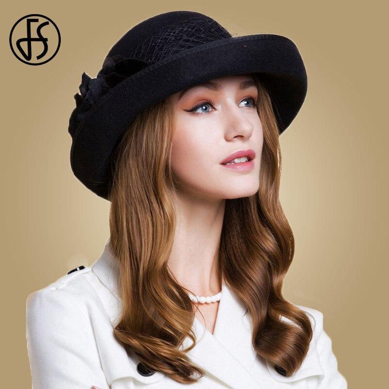 FS estilo británico negro mujer Lana fieltro Fedora gasa con flor de invierno rizo de ala ancha sombrero mujer niñas boda sombreros