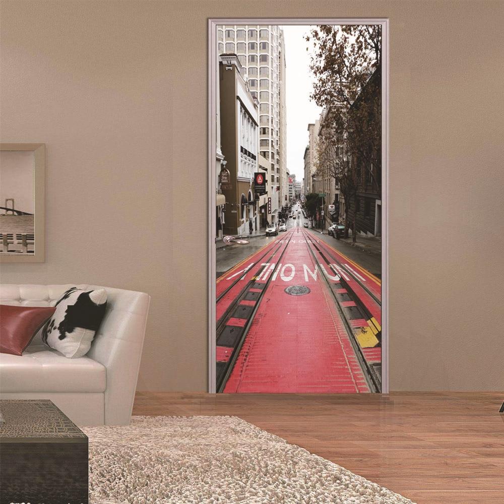 2 pcs/set City Railway Door Art Mural Sticker Home Decor DIY Large 3D Wall Stickers Self-adhesive Imitation Door Decals Poster
