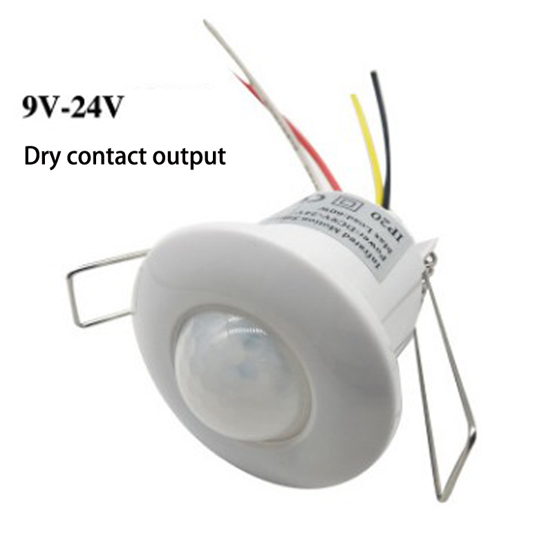Venda quente Elétrica UnitDC 9 V-24 V 360 Graus Mini Recesso Teto PIR Ocupação Motion Sensor Switch Detector saída de contato seco