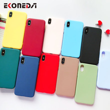 EKONEDA Candy Colors Soft Case For iPhone 7 Silicone Plain Simple Cover X 6S 8 Plus XS Max XR