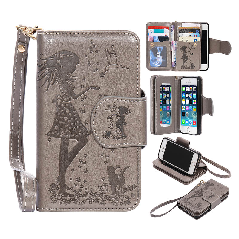 For Apple Iphone 5 5S Wallet Case Magnetic 2 In 1 MultiFunction Phone Purse Bag For Iphone SE With 9 Card Slots+Photo Frame