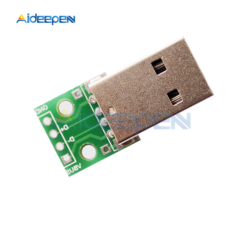 Macho Adaptador Convertidor de USB a DIP 4pin 2.54 mm Adaptador de extensión de tipo A PCB Placa