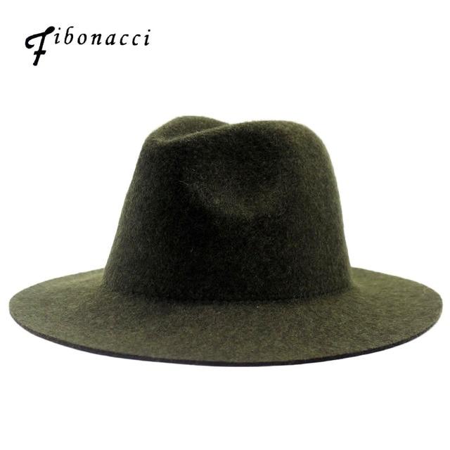 Fibonacci 2018 New High Quality Jazz Hat  for Women Men Solid Color Wool Felt Topper Bowler Fedoras Hats