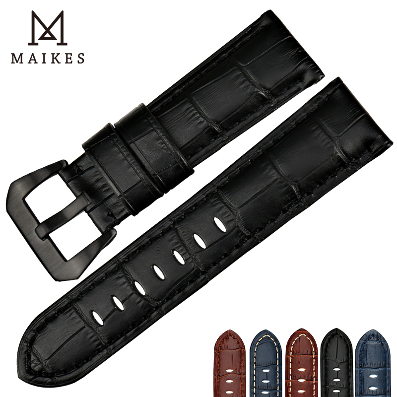 MAIKES New Genuine Leather Watch band 22mm 24mm 26mm Black Calf Cow Leather Watch Strap Watchband Men for Panerai все цены