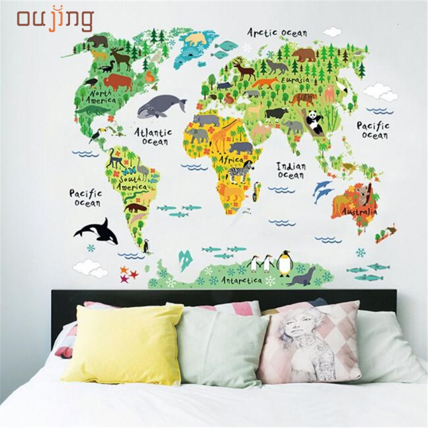 Casa amplia oujing animal world map extraíble tatuajes de arte mural decoración