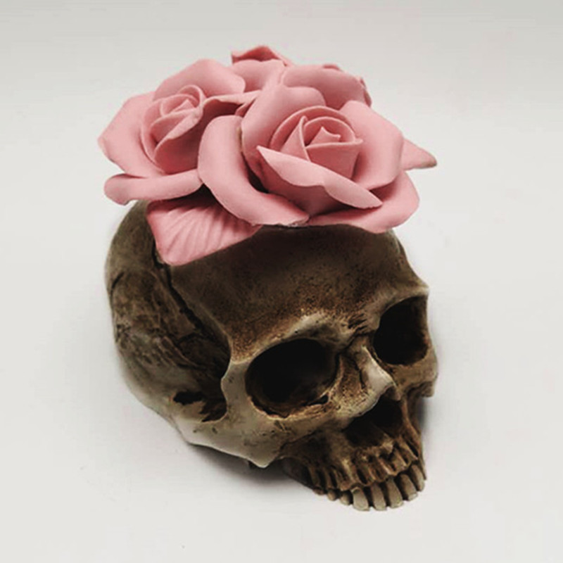 3D Rose skull silicone mold diy candle plaster silicone mold Halloween decoration tools(China)