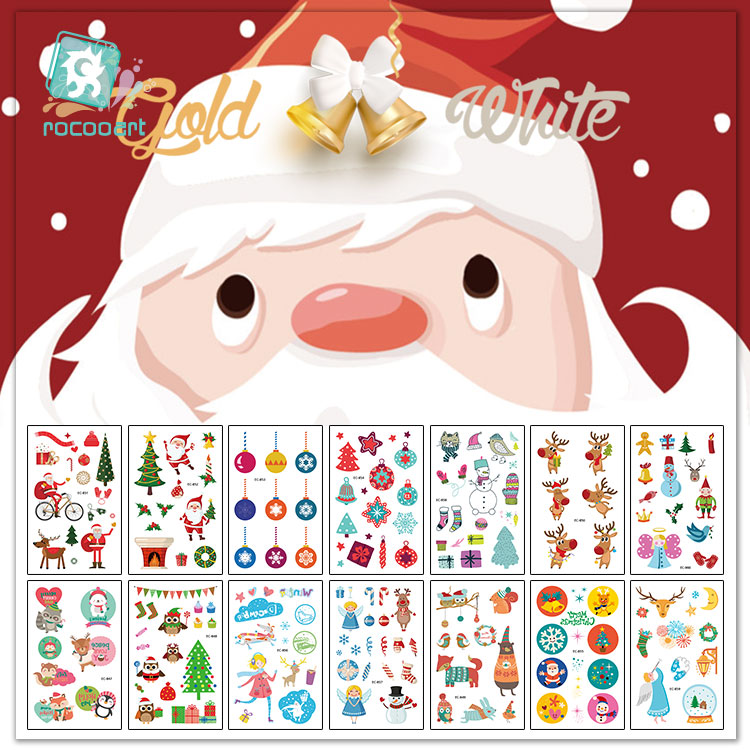 Rocooart Christmas Decorations Tattoo Stickers Children Party Gift Temporary Tattoo Santa Tattoo For Kids White Snow Fake Tatoo