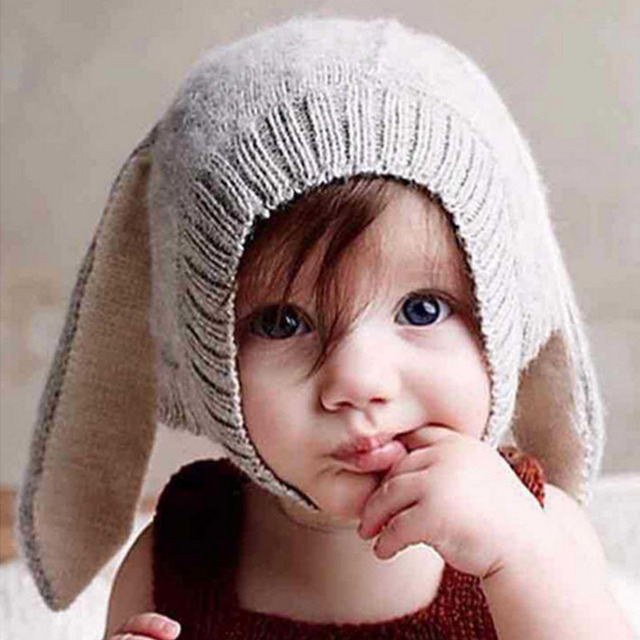 be2bd405e5d 1Pcs Baby Rabbit Ears Hat Winter Baby Bonnet Hat Knitted Infant Toddler Cap  Girl Boy Accessories