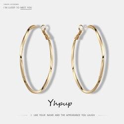 Yhpup S925 Pin Üst Kaplama Kore Moda Trendy Altın Oval Yuvarlak Bakır Çember Küpe Charms Basit Bildirimi Takı Kadınlar Için