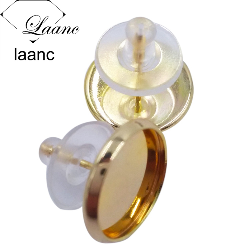 500pcs Silver/Gunmetal Black/Antique Bronze/Rhodium/Rose Gold Stud Earring Blank Bezel Cabochon Settings Rubber Stopper Backs
