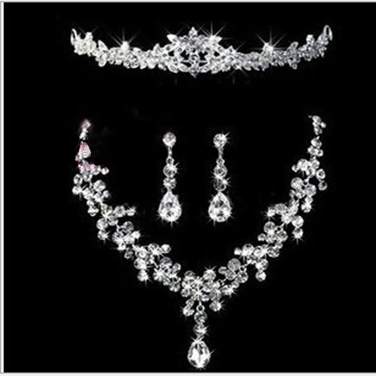 Hot Sale Crystal Rhinestone Wedding Pageant Bridal Necklace Earring