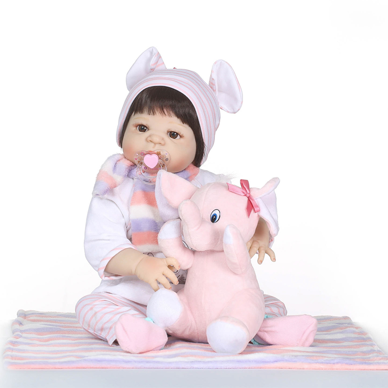 Nicery 22inch 55cm Bebe Reborn Doll Hard Silicone Boy Girl Toy Reborn Baby Doll Gift for Children Pink Elephant Baby Doll nicery 18inch 45cm reborn baby doll magnetic mouth soft silicone lifelike girl toy gift for children christmas pink hat close