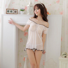 Lace Temptation Perspective Nightdress Erotic Lingerie Set female Pajamas White Sexy Costumes Sexy Lingerie Women Sex Nighty