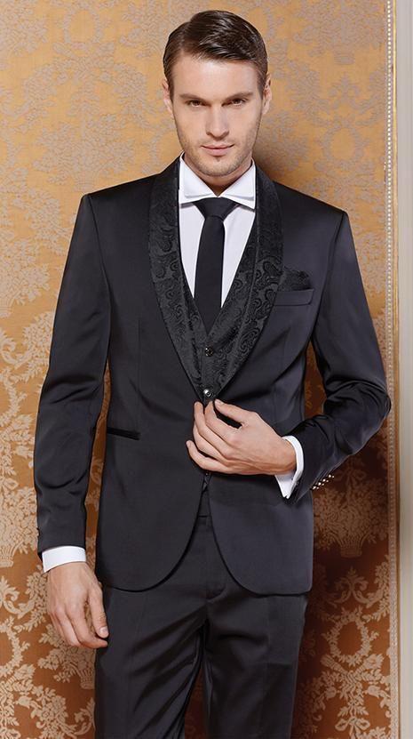 2017 Latest Coat Pant Designs Black Pattern Wedding Suits For Men Slim Fit 3 Piece Groom Tuxedo Style Suits Custom Blazer Terno