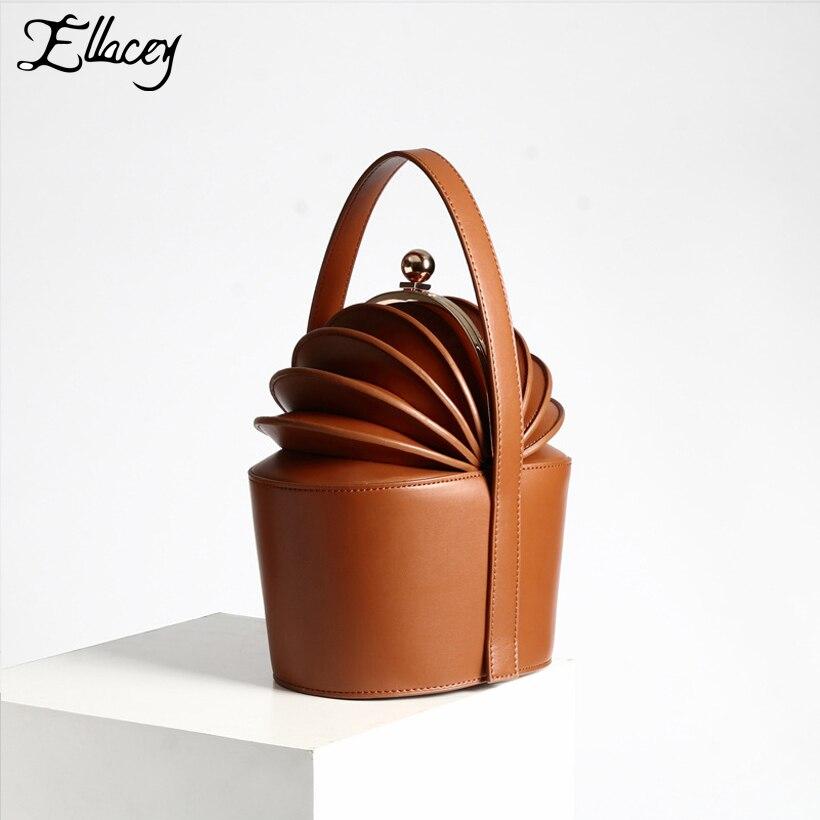 New 2018 Women Cow Split Leather Top-Handle Bags Baskets Pineapple Organ Small Handbag Genuine Leather Mini Bucket Tote Bags