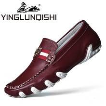 Men Flat Full Grain Leather Shoes Handmade Slip on Men's Loafers Shoes Man Casual Sapatos Tenis Masculino Size 39-44 Red Black