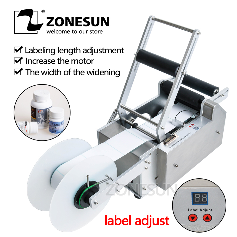ZONESUN Semi Automatic Handle LT-50 Round Plastic Water Wine Beer Cans Tube Vial Pet Glass Bottle Labeling Machine eco mt 50 semi automatic round bottle labeler labeling machine 120w 20 40pcs min