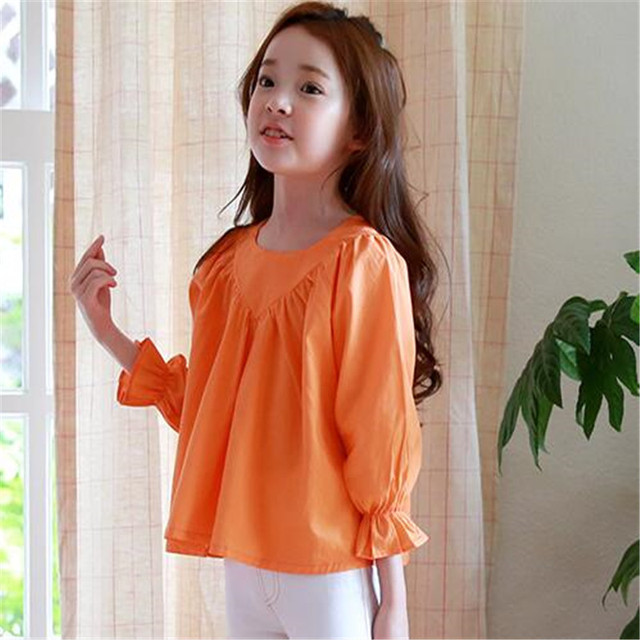 beb52edef Big Girls Orange Blouse Fashion Style Sweet Long Sleeve Blouses and Shirt  Children Autumn Cotton Comfortable Shirt Casual Cute