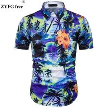 Male Casual shirts New 2018 summer fashion brand 3D landscape printing Fit short Sleeve Beach shirt dress men EU/US size Tops
