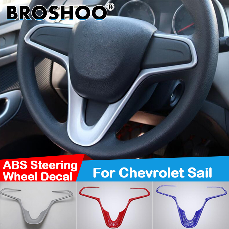 BROSHOO For Chevrolet New Sail Car Styling Auto Steering Wheel Decal Cover Frame Decorative 3D Sticker Stickers Car Accessories
