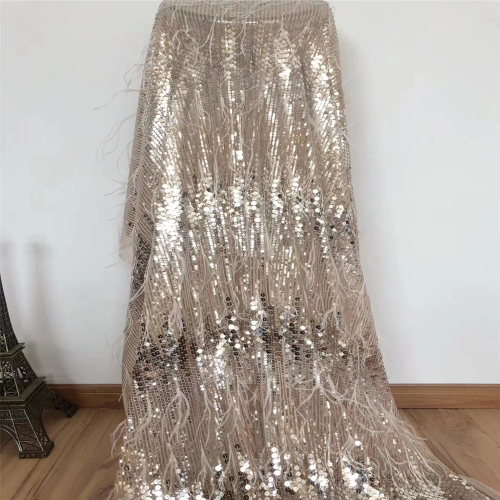 3d Lace Fabric 2018 High Quality Lace Sequins Fabric Nigerian Champagne Gold Party 5yards Tulle Lace