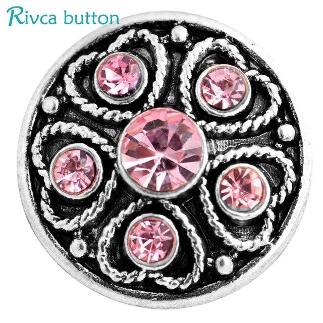 Rivca Snaps  Jewelry Rhinestone Metal Style Snap Bracelets For Women Bangle Europe Beads Christmas Gifts D03237 Women Jewelry