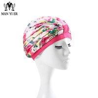 새로운 여성 좋은 품질 수영 모자 핑크 인쇄 수영 모자 여자 무료 크기 여성 목욕
