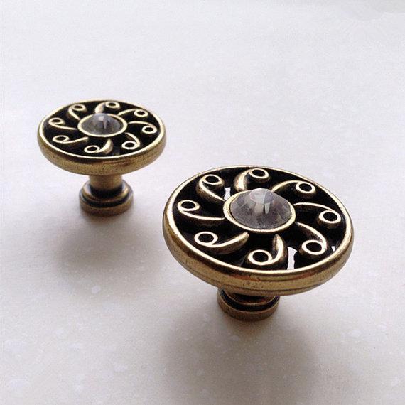 Round Antique Bronze Crystal Drawer Dresser Knobs Kitchen