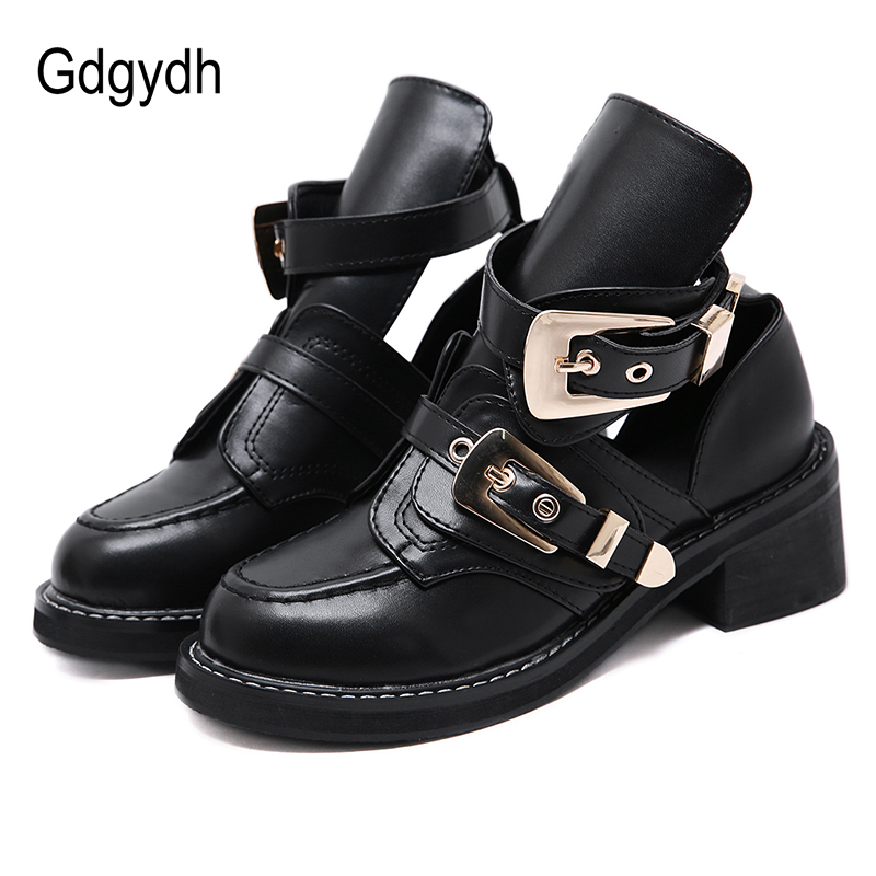 Gdgydh Metal Buckle Women Pumps Square Heel Female Single Shoes Round Toe Platform Shoes Women Gothic Snake Skin Patent Shoes
