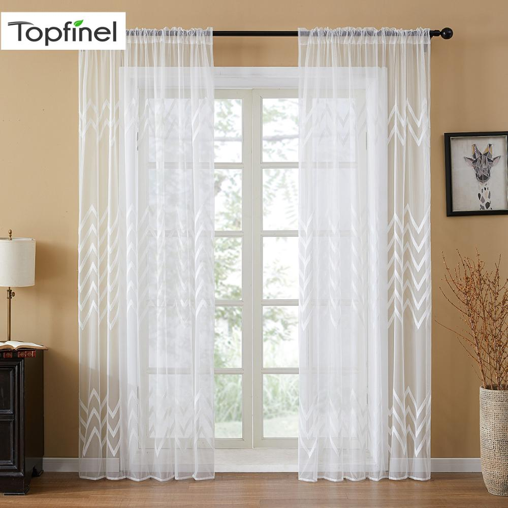 Topfinel Geometric Wave Embroidered Voile Sheer Curtains White Tulle On Windows For Living Room Bedroom Kitchen Home Decor Panel