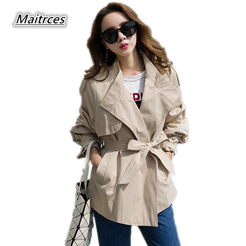 Spring Autumn   Trench   Coat for Women 2019 Streetwear Casual waistband Windbreaker Woman Turn-down Collar Loose Female Coat FY013