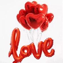 Balões de alumínio de 9 pçs/set, balões de alumínio de coração para decoração de festa de feliz aniversário e casamento, decoração de festa de dia dos namorados