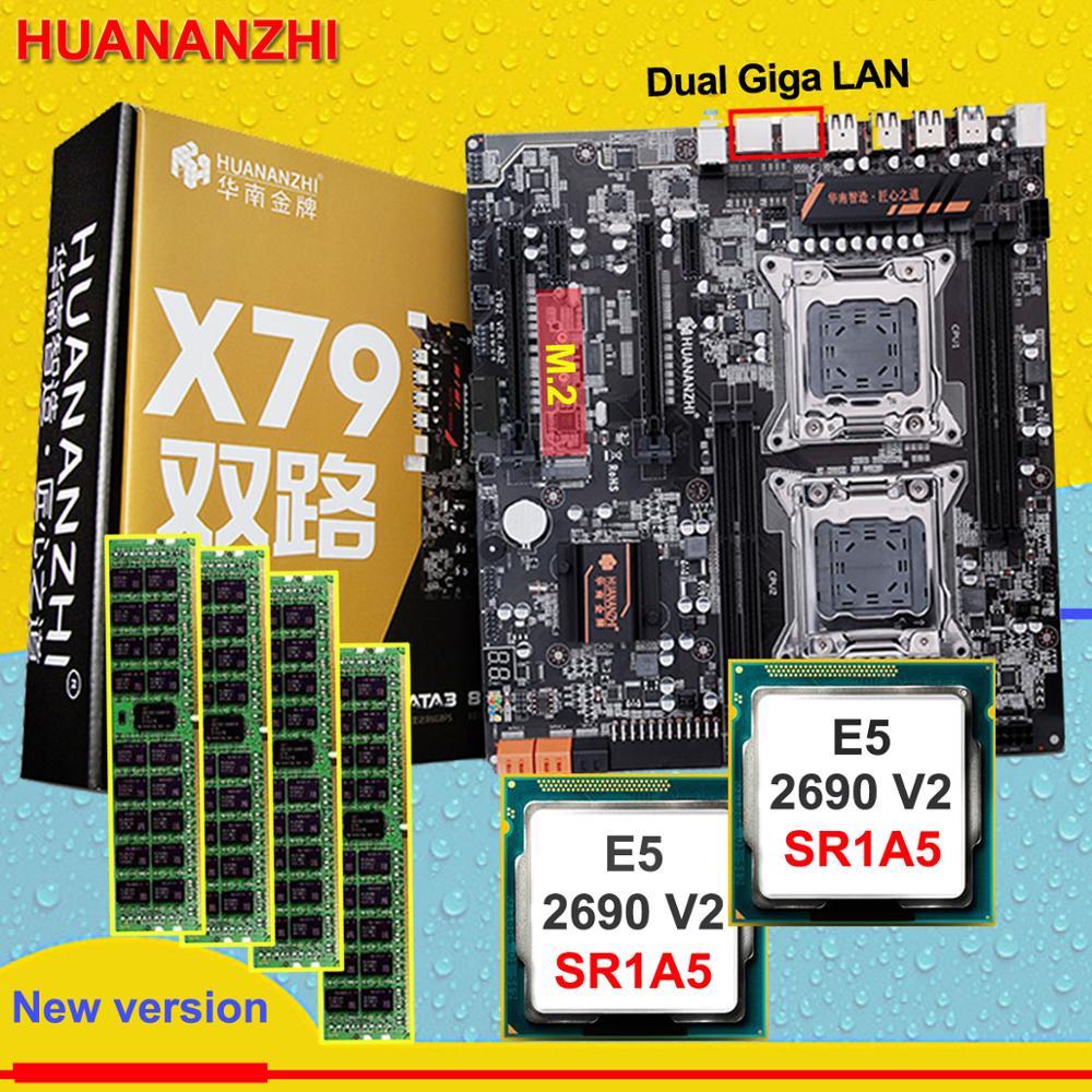 Desconto HUANAN ZHI dual X79 motherboard com slot M.2 E5 2690V2 desconto motherboard com CPU Intel Xeon 3.0 GHz RAM 64G (4*16G)