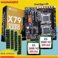 Discount HUANAN ZHI dual X79 motherboard with M.2 slot discount motherboard with CPU Intel Xeon E5 2690V2 3.0GHz RAM 64G(4*16G)