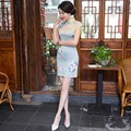 DJGRSTER Chinese Silk Dresses Women Summer 2017 Plus Size Clothing Flowers Cheongsam Dress Sexy Clothing Vintage Qipao Dress