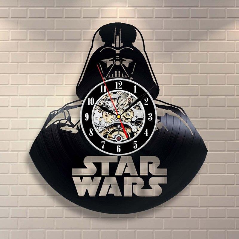Darth Vader Modelo Preto Oco Relógio Disco de CD Do Star Wars tema Estilo Antigo Relógio de Parede de Vinil Venda Quente Pendurado LEVOU Relógio