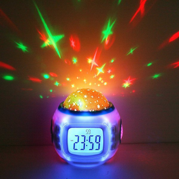 Music Alarm Clock Starry Star Sky Projection Calendar Digital Thermometer Night Light Projector Lamp - Hapee House store