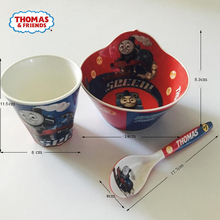 лучшая цена Thomas train children's tableware 3 pieces combination baby bowl spoon children's modeling bowl food container