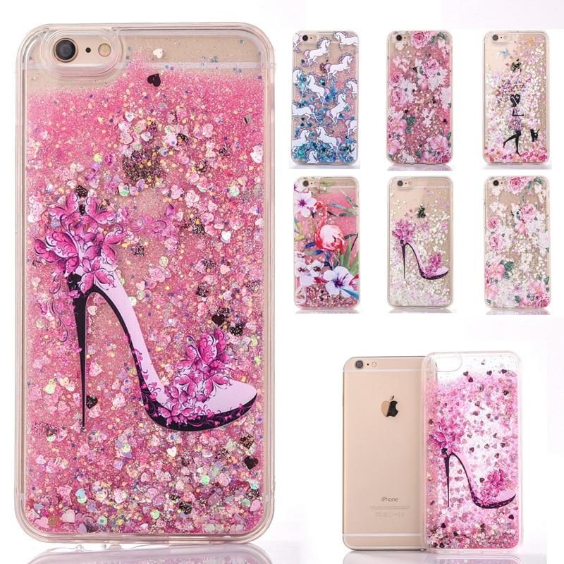 Para iphone 7 teléfono case glitter powder quicksand cubierta de plástico para i