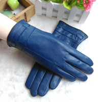 2017 New Women Genuine Leather Gloves Autumn Winter Warm Sheepskin Gloves Wrist Fashion Lady Leather Gloves