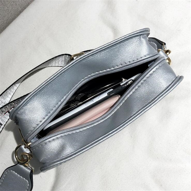 Women Bags Fashion PU Leather Shoulder Bag Wide Shoulder Strap Letter Messenger Bag Wild Small Square Package Mobile Phone Bags in Shoulder Bags from Luggage Bags