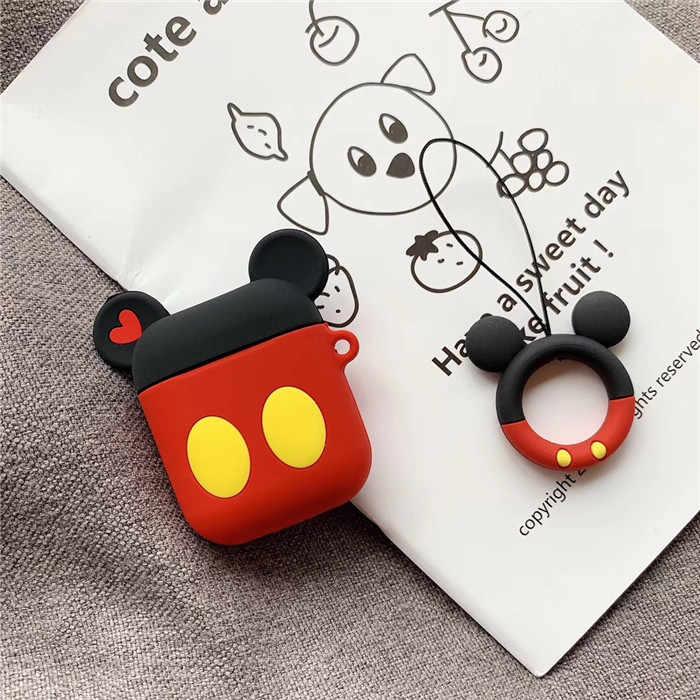 Милые Микки и Минни Маус Беспроводной с функцией Bluetooth, силиконовая чехол для Apple Airpods Защитный Чехол Air стручки кожухи головных телефонов брелок с фигурками из мультфильмов