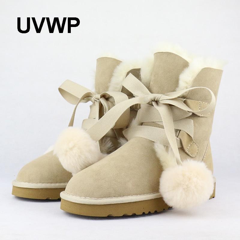 UVWP 2017 New Fashion Women Snow Boots Warm Wool Boots 100% Natural Fur Winter Boots Genuine Sheepskin Leather Women Boots new fashion brand women snow boot genuine sheepskin leather snow camouflage boots natural fur winter boots warm wool women boots