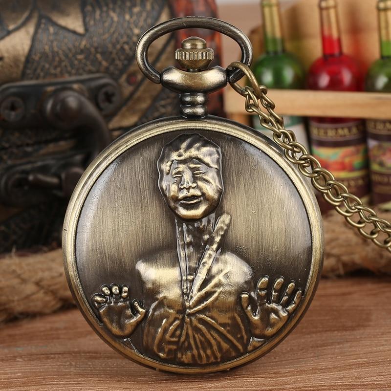Retro Bronze The Walking Dead Theme Long Neck Zombie Design Quartz Pendant Pocket Watch Chain Best Gift To Men Women Drama Fans