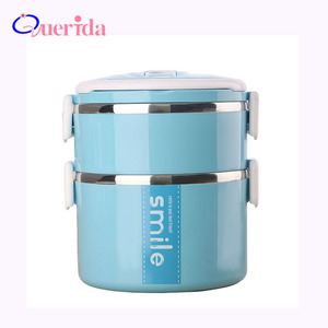 Japanese Thermal Lunch Box Portable Leak-Proof Stainless Steel Bento Box Kids Double Layer School Picnic Food Container Box