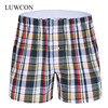 LUWCON Brand Loose Plaid Cotton Men's Underwear Boxer Shorts High Quality Mens Leisure Lounge Home Wear Underpants