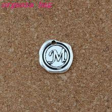 100pcs/lots Antique Silver Single side Letter  M disc Initial alloy Charms Pendants Fashion DIY Accessories 18x18.5MM A-469