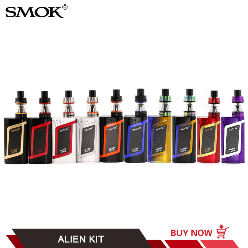 100% Original SMOK Alien Starter Kit 510 Thread 220W TC Box Mod with 3ML TFV8 Baby Tank V8 Baby Q2 T8 coils VS SMOK AL85 Kit купить недорого в Москве